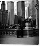 People And Skyscrapers - Square Canvas Print