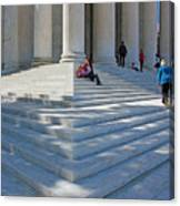 People On Steps With Columns Canvas Print