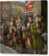 People - People Waiting For The Bus - 1943 Canvas Print