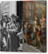 People - People Waiting For The Bus - 1943 - Side By Side Canvas Print