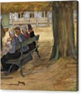 People Sitting On A Bench In Bezuidenhout. The Hague Canvas Print
