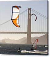People Wind Surfing And Kitebording Canvas Print