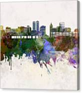 Peoria Skyline In Watercolor Background Canvas Print