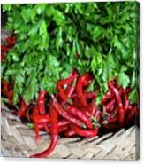 Peppers In A Basket Canvas Print