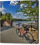 Perfect Weather For Cycling At Lake Brandt Canvas Print