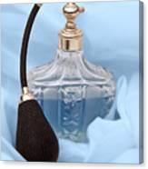 Perfume Bottle Still Life I In Blue Canvas Print