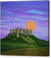 Perigee Moon Rising Above Crow Butte Canvas Print