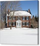 Period Vintage New England Brick House In Winter Canvas Print