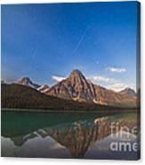 Perseid Meteors Over Mt. Chephren Canvas Print