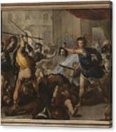Perseus Turning Phineas And His Followers To Stone Canvas Print