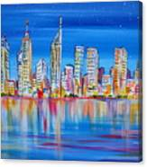 Perth Skyscrapers Skyline On The Swan River Canvas Print