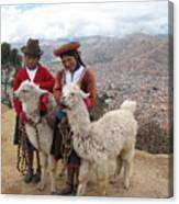 Peruvian Girls With Llamas Canvas Print