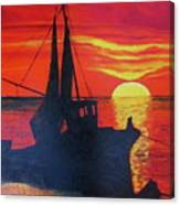 Peschereccio E Tramonto Canvas Print