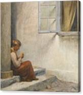 Peter Ilsted Danish, 1861-1933, On The Porch, Liselund Canvas Print