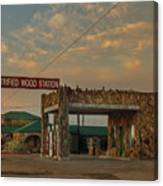 Petrified Gas Station After Rain Canvas Print