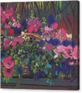A Basket Of Petunias Canvas Print