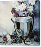 Pewter Coffee Pot And Daisies Canvas Print