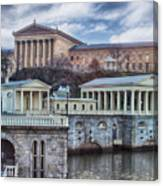 Philadelphia Art Museum At The Water Works  Canvas Print