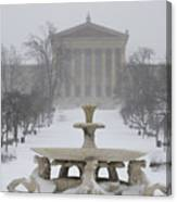 Philadelphia Art Museum From The West In Winter Canvas Print