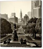 Philadelphia Benjamin Franklin Parkway In Sepia Canvas Print