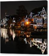Philadelphia Boathouse Row At Night Canvas Print