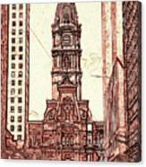 Philadelphia City Hall - Pencil Canvas Print
