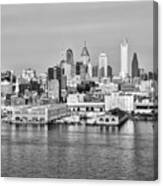 Philadelphia From The Waterfront In Black And White Canvas Print