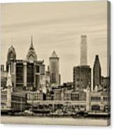 Philadelphia From The Waterfront In Sepia Canvas Print