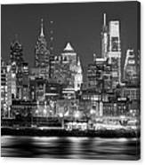 Philadelphia Philly Skyline At Night From East Black And White Bw Canvas Print