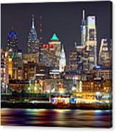 Philadelphia Philly Skyline At Night From East Color Canvas Print