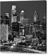 Philadelphia Skyline At Night Black And White Bw  Canvas Print