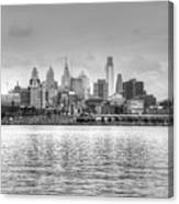 Philadelphia Skyline In Black And White Canvas Print