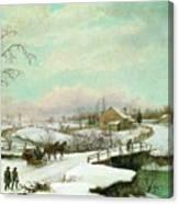 Philadelphia Winter Landscape Ca. 1830 - 1845 By Thomas Birch Canvas Print