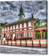 Philadelphia's Independence Hall Under The Clouds Canvas Print