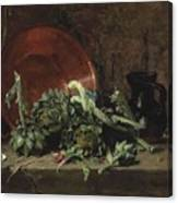 Philippe Rousseau Still Life With Artichokes, 1868 Canvas Print