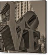 Philly Esque  - Love Statue In Sepia Canvas Print