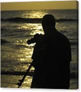 Photographer And Atlantic Ocean Sunrise Canvas Print