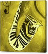 Piano Keys In A  Saxophone Golden - Music In Motion Canvas Print