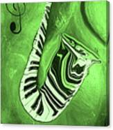 Piano Keys In A  Saxophone Green Music In Motion Canvas Print