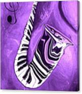 Piano Keys In A Saxophone Purple - Music In Motion Canvas Print