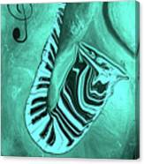 Piano Keys In A  Saxophone Teal Music In Motion Canvas Print
