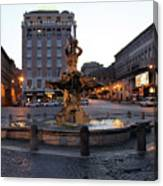 Piazza At Night Canvas Print