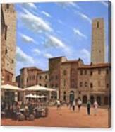 Piazza Della Cisterna San Gimignano Tuscany Canvas Print