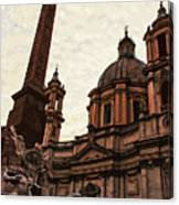 Piazza Navona At Sunset, Rome Canvas Print