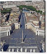 Piazza San Pietro And Colonnaded Square As Seen From The Dome Of Saint Peter's Basilica - Rome, Ital Canvas Print