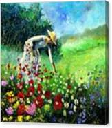 Picking Flower Canvas Print