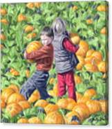 Picking Pumpkins Canvas Print