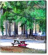 Picnic Area With Wooden Tables 3 Canvas Print