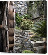 Pictueresque Waterwheel In Cinqueterre Garden Canvas Print