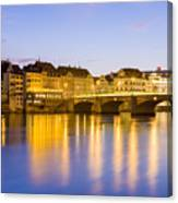 Picturesque Basel At Night Canvas Print